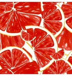 Seamless pattern fresh ripe slice of grapefruit vector