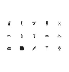 Set of 15 editable hairstylist icons includes vector