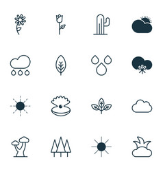 set of 16 world icons includes rain bush water vector image vector image