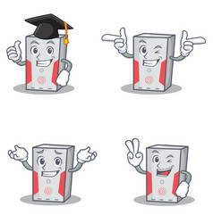 Set of computer character with graduation wink two vector