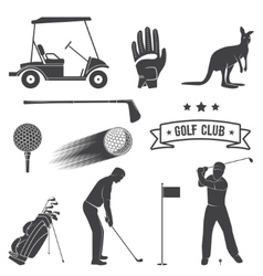 Set of vintage golf elements and equipment vector image vector image