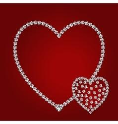 Shiny diamond hearts vector image