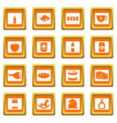 shop navigation foods icons set orange vector image vector image