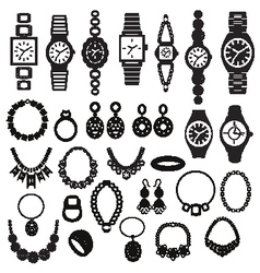 Silhouette icons set with fashion watches and jewe vector
