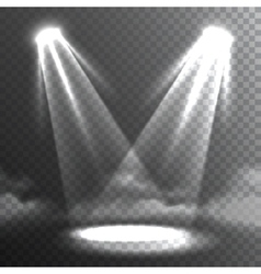 Two white lights beams meet banner vector