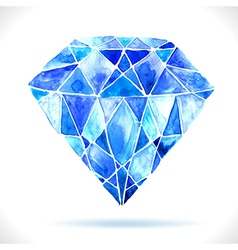 Watercolor beautiful blue diamond vector