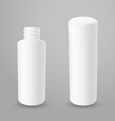 White plastic opened and closed bottles vector