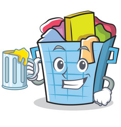 With juice laundry basket character cartoon vector
