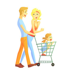 Young parents with little girl shopping happy vector