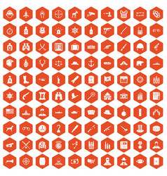 100 bullet icons hexagon orange vector