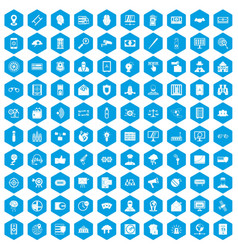100 security icons set blue vector