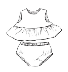Baby clothes dress and trunks vector