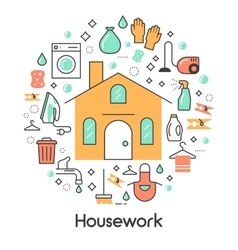 House work line art thin icons set vector