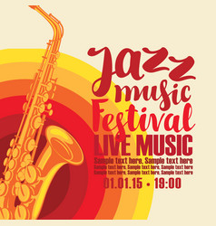 Poster for jazz festival live music with saxophone vector