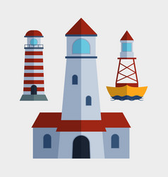 Cartoon flat lighthouse searchlight tower for vector