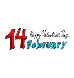 14 february lettering valentines day emblem vector