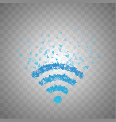 The wireless icon is made of triangles which fly vector