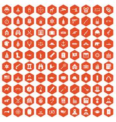 100 bullet icons hexagon orange vector