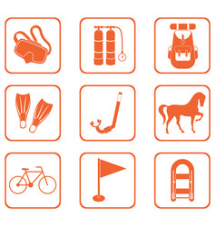 Set of camping equipment icons vector