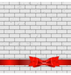 Background of brick wall texture with bow and vector