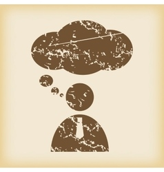 Grungy thinking person icon vector