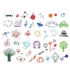 Set of eco doodles vector