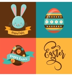 Colorful happy easter greeting card with rabbit vector