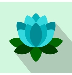 Blue lotus flower icon flat style vector