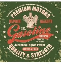 Vintage gasoline retro label vector image