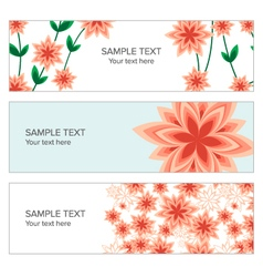 Floral banner with geometric peach flowers vector