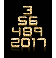Golden number set with transparent reflections vector image