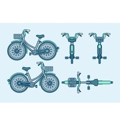 Eco-friendly bike front side back view line vector