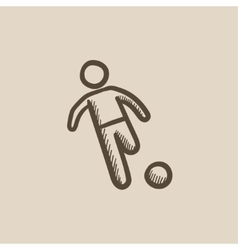 Soccer player with ball sketch icon vector