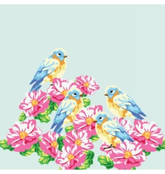 Blooming tree and pigeons vector