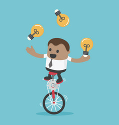 Businessman riding bike one wheel play acrobatic vector