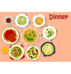 Dinner dishes with dessert icon for menu design vector