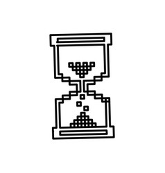 Figure pixel hourglass icon vector