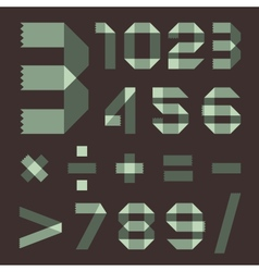 Font from spindrift scotch tape - arabic numerals vector