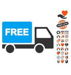 Free delivery icon with valentine bonus vector