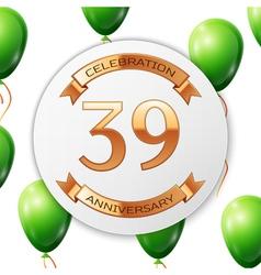 Golden number thirty nine years anniversary vector