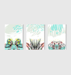 Hand drawn tropical cards set collection vector