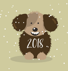 happy 2018 new year card funny fluffy dog vector image vector image
