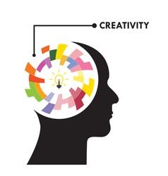 Head and Creative bulb light idea vector image