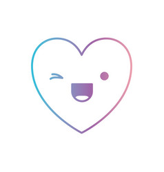 Heart kawaii in wink expression in degraded blue vector