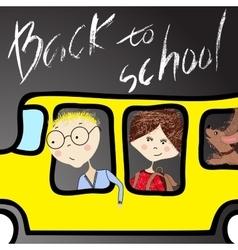 Kids riding on school bus handwritten lettering vector