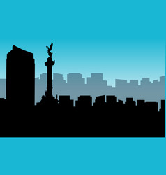 landscape of mexico city silhouettes vector image vector image