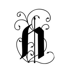 Letter n with arrows vector