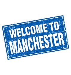 Manchester blue square grunge welcome to stamp vector