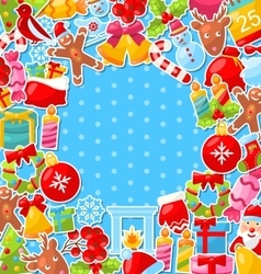Merry Christmas Background with Traditional vector image vector image