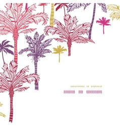 Palm trees seamless corner decor pattern vector image